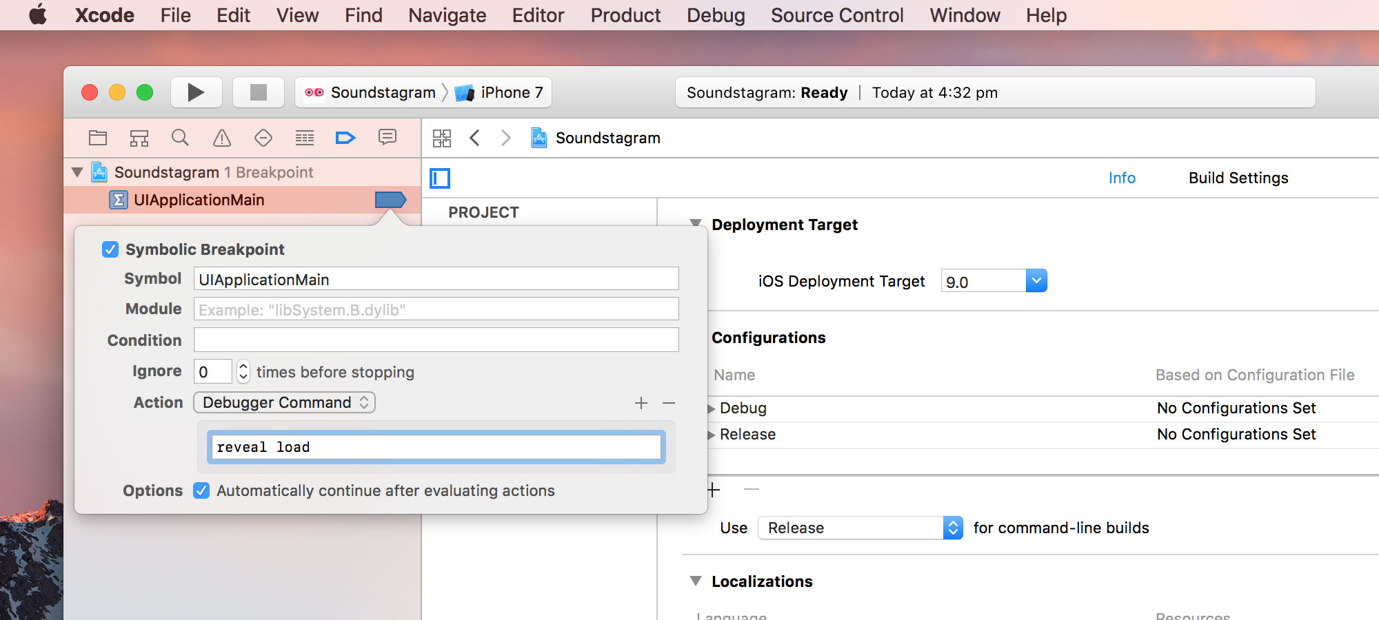 Setting up Symbolic Breakpoint in Xcode project